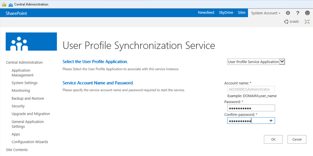 Erro ao provisionar User Profile Sync no SP2013 + SQL2014